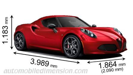Alfa-Romeo 4C 2013 dimensions with length, width and height