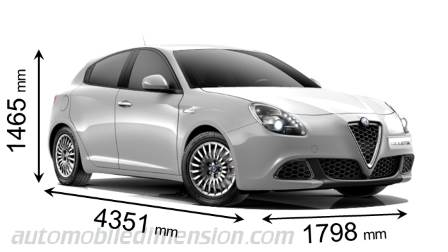 Alfa-Romeo Giulietta 2016 dimensions with length, width and height