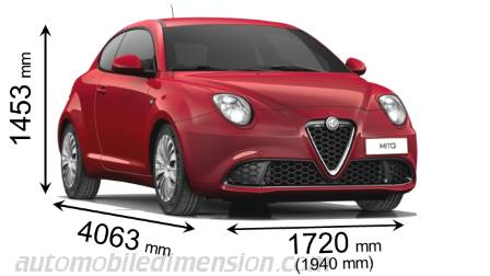 Alfa-Romeo MiTo 2016 dimensions with length, width and height