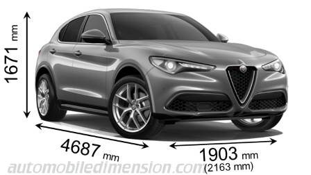 Alfa-Romeo Stelvio 2017 dimensions with length, width and height