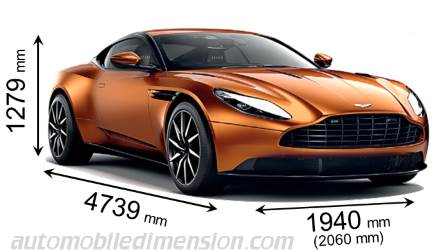 Dimensions of Aston Martin cars showing length, width and ...