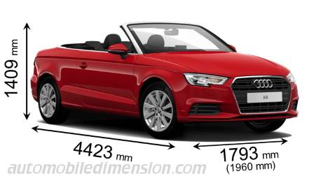 Audi A3 Cabrio 2016 dimensions with length, width and height
