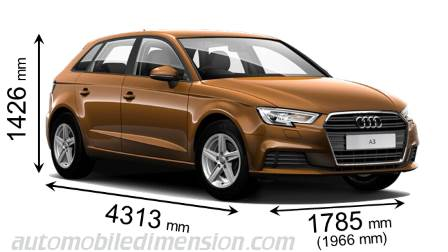 Audi A3 Sportback 2016 dimensions with length, width and height