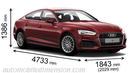 Audi A5 Sportback 2016 dimensions with length, width and height