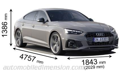 Audi A5 Sportback 2020 dimensions with length, width and height