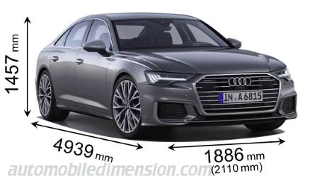 Audi A6 2018 dimensions with length, width and height