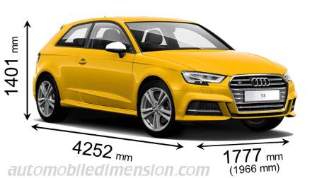 Audi S3 2016 dimensions with length, width and height