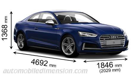 Audi S5 2016 dimensions with length, width and height