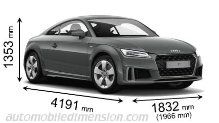 Audi TT Coupe 2019 dimensions with length, width and height