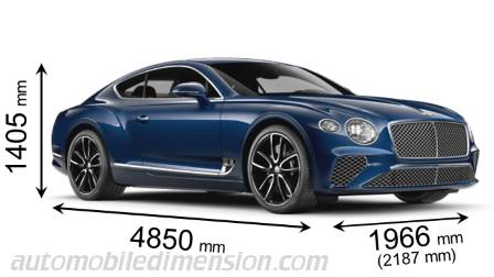 Bentley Continental GT cotes en mm