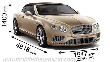 Bentley Continental GT Convertible cotes en mm