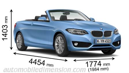 BMW 2 Serie Cabrio dimensies en mm