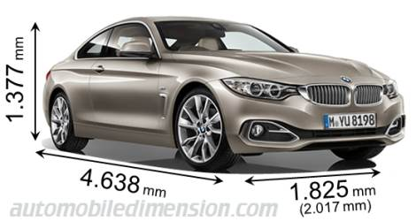 BMW 4 Series Coupé measures in mm