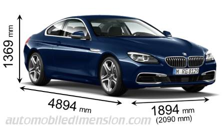 BMW 6 Series Coupé measures in mm