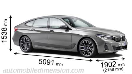 BMW 6 Gran Turismo 2020 dimensions with length, width and height