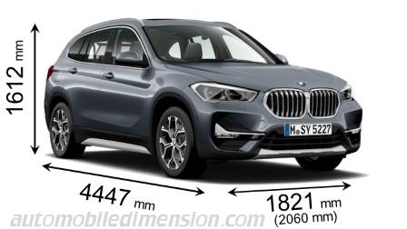 BMW X1 2020 dimensions with length, width and height