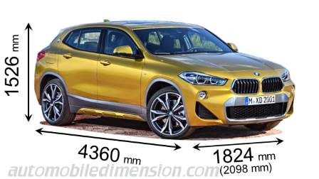 BMW X2 dimensies en mm