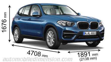BMW X3 dimensies en mm
