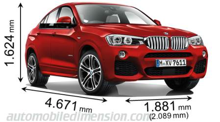 dimensions of bmw cars showing length width and height