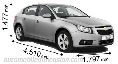 2013 Chevy Cruze For Sale >> Dimensions of Chevrolet cars showing length, width and height