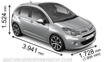 Citroën C3 cotes en mm
