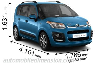 dimensions citroen c3 picasso 2013 coffre et int rieur. Black Bedroom Furniture Sets. Home Design Ideas