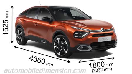 Citroen C4 2021 dimensions with length, width and height