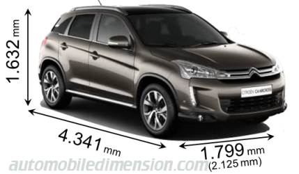 dimensions citroen c4 aircross 2012 coffre et int rieur. Black Bedroom Furniture Sets. Home Design Ideas