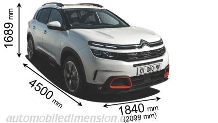 Citroen C5 Aircross 2019 dimensions with length, width and height