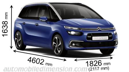 citroen grand c4 picasso 2016 dimensions boot space and interior. Black Bedroom Furniture Sets. Home Design Ideas