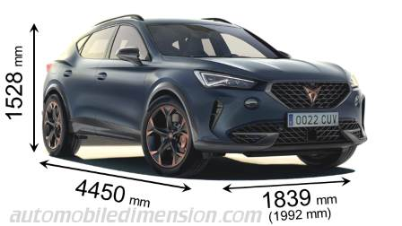 CUPRA Formentor 2021 dimensions with length, width and height