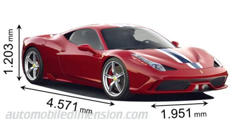 Ferrari 458 Speciale 2014 dimensions with length, width and height