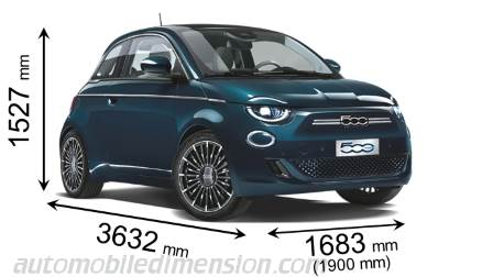 Fiat 500 2020 dimensions with length, width and height