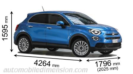 Fiat 500X 2019 dimensions with length, width and height