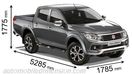 Fiat Fullback 2016 dimensions with length, width and height