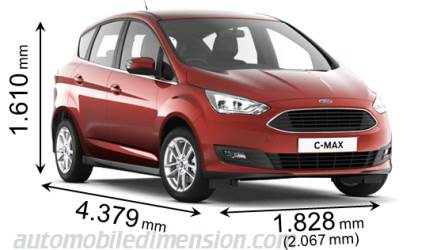dimensions ford c max 2015 coffre et int rieur. Black Bedroom Furniture Sets. Home Design Ideas
