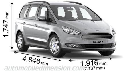 Ford Galaxy 2015 dimensions with length, width and height