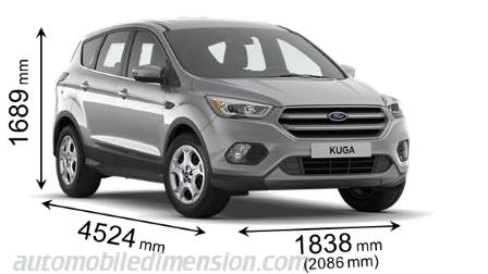 dimensions ford kuga 2017 coffre et int rieur. Black Bedroom Furniture Sets. Home Design Ideas
