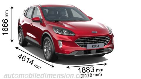 Ford Kuga 2020 dimensions with length, width and height