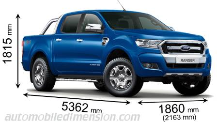 Ford Ranger 2016 dimensions with length, width and height