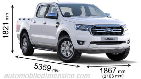 Ford Ranger 2019 dimensions with length, width and height