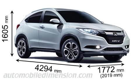Honda HR-V 2015 dimensions with length, width and height