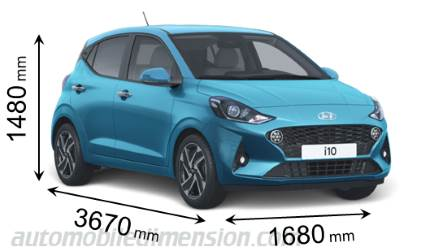 Hyundai i10 2020 dimensions with length, width and height