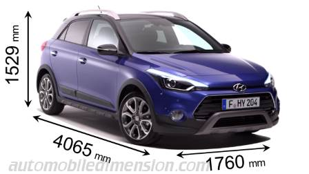 Hyundai i20 Active dimensies en mm