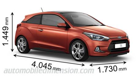 Hyundai i20 Coupe 2015 dimensions with length, width and height