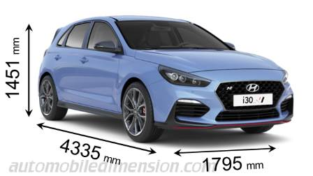 Hyundai i30 N 2018 dimensions with length, width and height