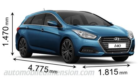 Hyundai i40 SW 2015 dimensions with length, width and height