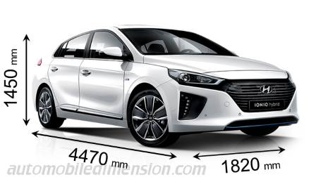 Hyundai IONIQ 2016 dimensions with length, width and height