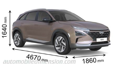 Hyundai Nexo 2018 dimensions with length, width and height