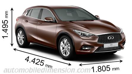 Infiniti Q30 2016 dimensions with length, width and height